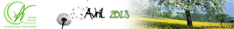 Newsletter du CCA : Avril 2013